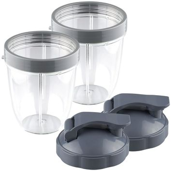 2 Pack NutriBullet 18 oz Short Cup with Lip Ring and Flip To-Go Lids