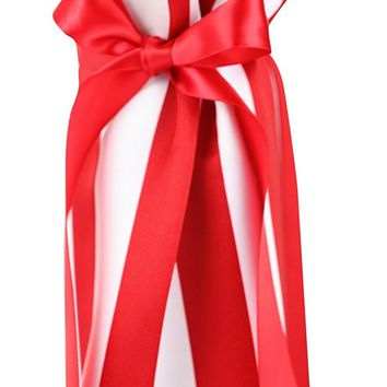 CHC-Beverly Hills PIKNIK, High End Wine/ Champagne Fabric Gift Bag, Satin White-Red and Red Ribbon, One Size