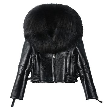 2018 Women Real Sheep Fur Coat Winter Jacket Women Warm Genuine Merino Sheepskin Leather Jacket Large Real Raccoon Fur Coats