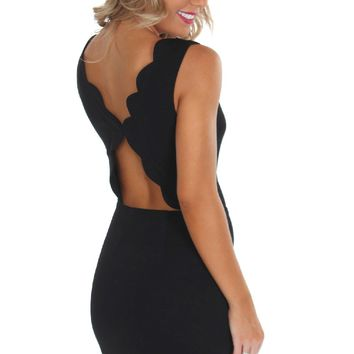 Scallop Cutout Dress Black