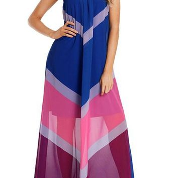 Blue Chevron Color Block Halter Neck Maxi Dress