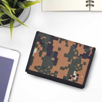 Camo RFID Leather Business Card Case