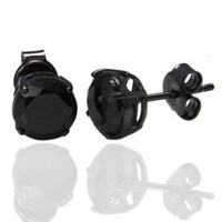 Authentic Black Enamel Stud Earrings Sterling Silver .925 Genuine Black Diamond Color Cubic Zirconia 2 Carat Total Weight Special Limited Time Offer Super Sale Price, Comes with a Free Gift Pouch and Gift Box: Jewelry: Amazon.com