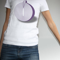 White T-shirt Vegetarian, Purple Onion, Please don't make me cry, Illustration and Geometric Stylized