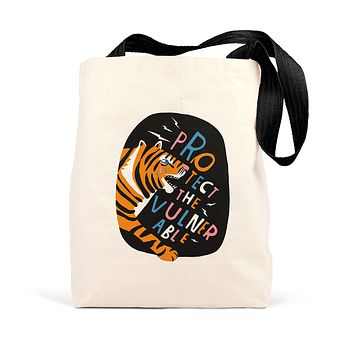 Lisa Congdon Protect the Vulnerable Tote with Tiger Design