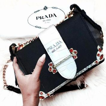 ''Prada'' Trending Women Stylish Leather Red Crystal Shoulder Bag Crossbody Satchel Black/Dark Grey