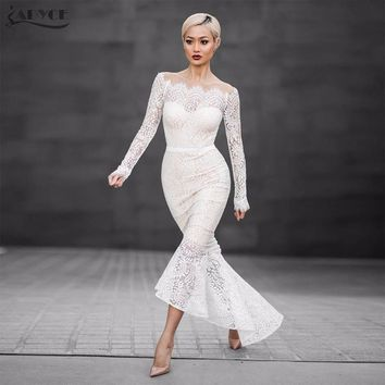 Sexy White Lace Off the Shoulder Evening Party Dress