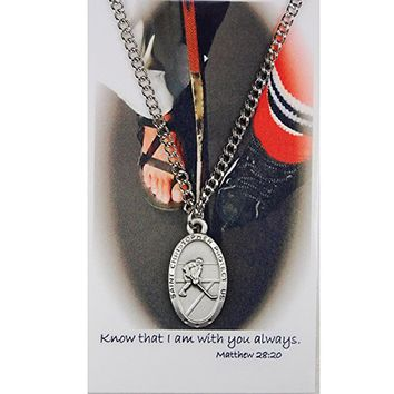 """St. Christopher Pewter Boys or Mens Hockey Sports Medal with 24"""" Chain."""