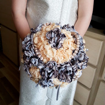 Fabric Bouquet Shabby Chic Fabric Wedding Bridal Bouquet with Pearls vintage beads HANDMADE flowers bright orange brown silver satin ribbon