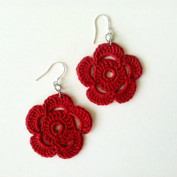 Crochet Flowers, Floral Jewelry, Shabby Flowers, Crochet Earrings, Summer Jewelry, Garden Earrings, Rose Earrings, Daisy Earrings, Bohemian