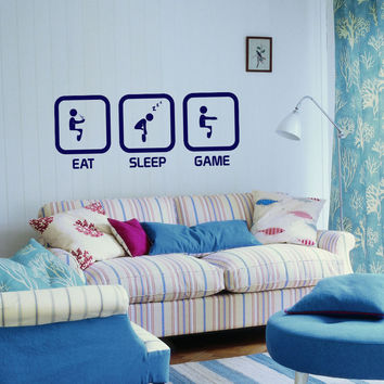 Eat Sleep Game Kids Room Children Stylish Wall Art Sticker Decal 10602