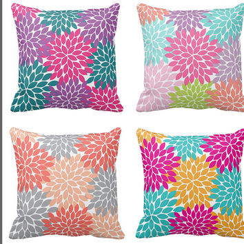 Flower PILLOW, THROW Pillow with Insert, Pillow SHAM Pillow Case, Flower Burst, College Dorm Decor, Baby Nursery Pillow, Couch Pillow
