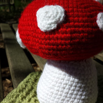 Amigurumi Toadstool and cotton wash cloth 2pc gift set -fairy tale toddler gift - baby shower present - mushroom stuffed toy - kitchen cloth