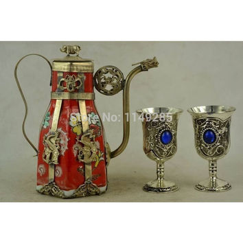 Free Shipping - Star Dragon armor hand-decorated porcelain teapot & one pair Miao silver goblet