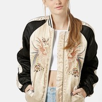 Women's Topshop Embroidered Sateen Bomber
