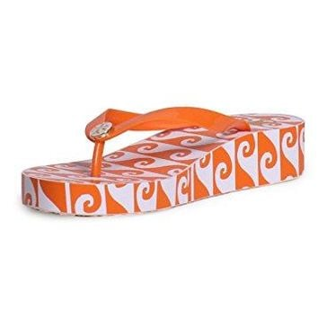 Tory Burch Printed Wedge Flip Flop Sandals In Wave Part Orange