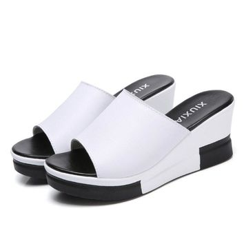 Cow Leather Wedge Heel Sandals