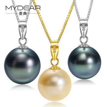 MYDEAR Pearl Jewelry Women Fashionable 9-10mm Seawater Pearl Pendant Necklace Gold Slide Pendant Chain Trendy Making Jewelry