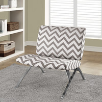 "Dark Taupe ""Chevron"" Fabric/Chrome Metal Accent Chair"