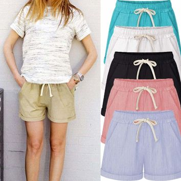 Womens Loose Pants Elastic Waist Beach Casual Shorts Trousers Pocket Plus Size