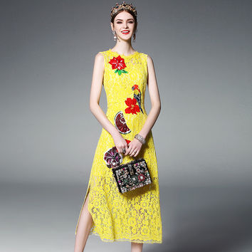 2017 Summer Fashion Runway Dress Women's elegant Sleeveless Birdie Parrot Flower Applique Beading Sexy Split Yellow Lace Dress