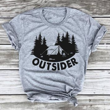 Fashion Clothing Hipster Outsider T-Shirt Funny Slogan Christmas Party Tee Go Outdoo Hiking Shirt gift goth art Tops Outfits
