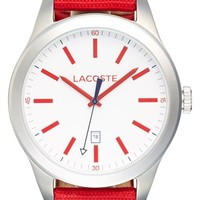 Men's Lacoste 'Auckland' Canvas Strap Watch, 44mm