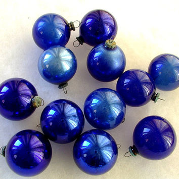 vintage 1940s Purple Blue Occupied Japan vintage feather tree small glass Christmas ornaments with box 12 ornaments