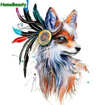 Oil paintings hand painted coloring by numbers wall art modular painting drawing feather fox pictures by number home decor WR047