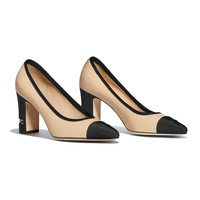 Lambskin & Grosgrain Beige & Black Pumps | CHANEL