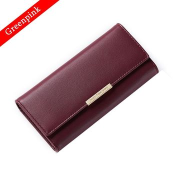 Greenpink Wallet Women Standard Hasp Female Coin Purse Fashion Card Holder Quality Split Leather Clip Wallet Clutch Money Bag