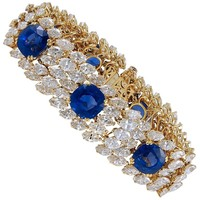 Cartier Diamond and Ceylon Sapphire Bracelet