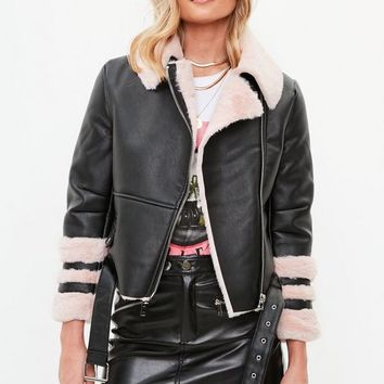 Missguided - Petite Black Faux Fur Aviator Jacket