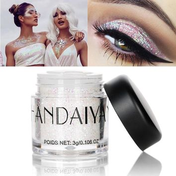 HANDAIYAN Body Glitter Loose Powder Festival Face Eye Lip Hair Glitter Tattoo Shimmer Makeup Galaxy Symphony White Glow Pigment