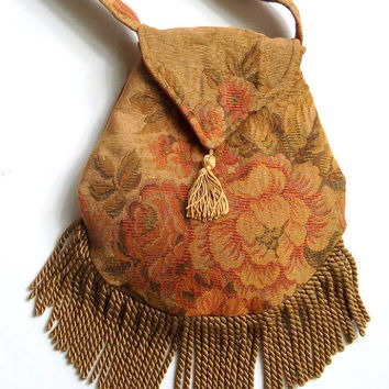 Gold Fringed Tapestry Gypsy Bag Gold Floral Shoulder Bag Bohemian  Indie bag renaissance bag