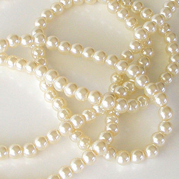 Vintage Long Pearl Necklace Opera Flapper White Pearls