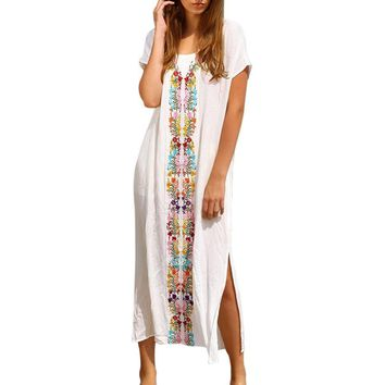 Fashion Women Summer Beach Swimwear Embroidered Short Sleeve Long straight Dress Casual printed cotton Sundress ladies Dresses