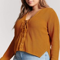 Plus Size Lace-Up Sweater