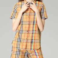 Burberry rainbow lattice leisure suit, short sleeved shirt, baggy shorts, two piece sets