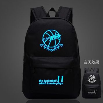 Womens Mens Cool Luminous Laptop Backpack School Backpack Teens Boys Girls Anime Kuroko no Basket School Book Bag