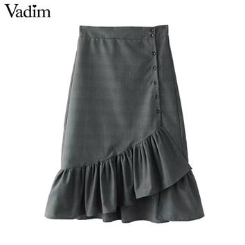Vadim vintage ruffled plaid wrap skirts midi elastic waist buttons sweet ladies fashion casual mid-calf skirts BSQ616