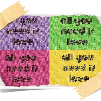 HAPPY POSTER print A4 - All you need is love ART Deco Design Inspirational Wall Hangings Colorful Stylish Yellow Red Pink Purple Beatles