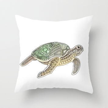 Tortuga Throw Pillow by Sandy Broenimann