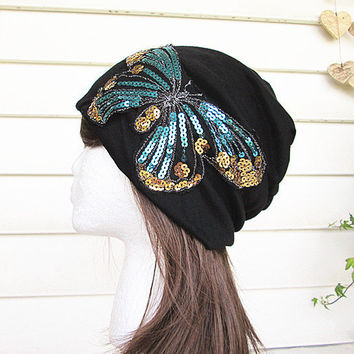Butterfly Beanie- Beanie Hat-Black Beanie-Tube Hat- Head Wrap- Slouch Cap-Hippie Hat.