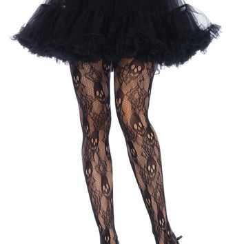 Leg Avenue Female Plus Size Black Rose Skull Lace Tights 9751X