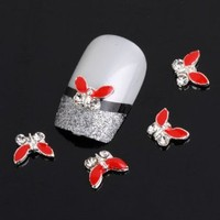 Yesurprise Special Silver Red Butterfly 10 pieces Silver 3D Alloy Nail Art Slices Glitters DIY Decorations