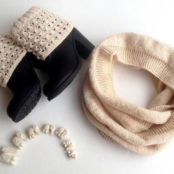 Winter Accessories Infinity Scarf Leg Warmers Short Boot Cuffs Knit Women Scarf Boot Socks Boot Topers For Her Christmas Gifts senoAccessory