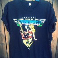 Extra soft VAN HALEN studded t shirt ladies size large / extra large