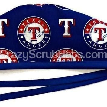 Men's Unlined Surgical Scrub Hat Cap in Texas Rangers