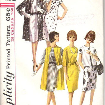 Simplicity 5834 Sewing Pattern Retro Mod Mad Men Style 60s Shift Dress Duster Jacket Coat Kimono Sleeves Uncut Plus Size Bust 38